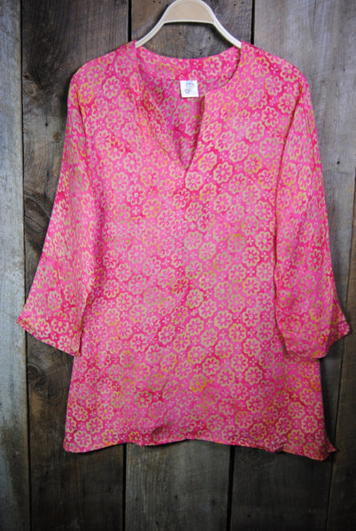 Batik Tunics Floret in Pink - Girl Intuitive