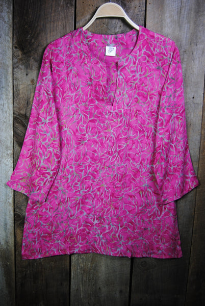 Batik Tunics Foliage in Fuschia - Girl Intuitive