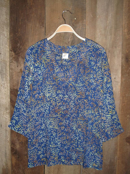 Batik Tunics Leaves in Blue - Girl Intuitive