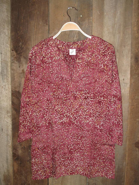 Batik Tunics Leaves in Marsala - Girl Intuitive
