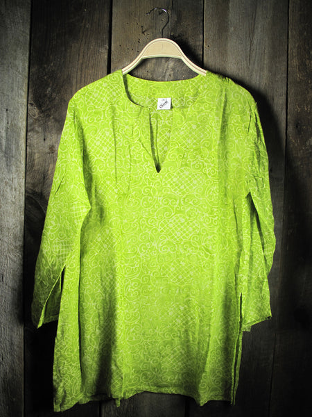 Batik Tunic in Lime Green Sea