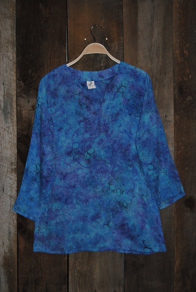Batik Tunic in Blue Hues