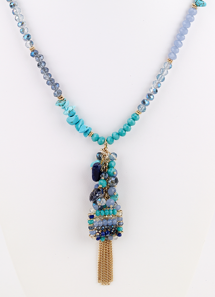 Beaded Cluster Long Necklace - Turquoise - Girl Intuitive