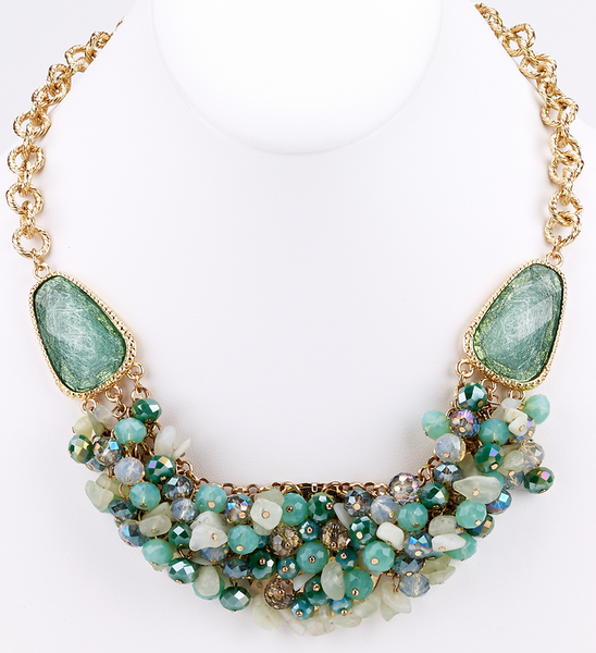 Bead Cluster Statement Necklace - Girl Intuitive