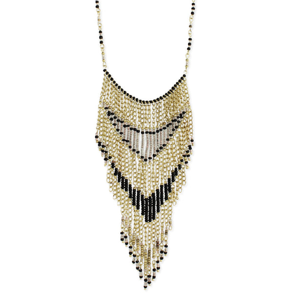 Necklace - Bead Fringe Bib Necklace - Girl Intuitive - zad -