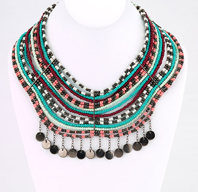 Multi Strand Beaded Bib Necklace - Coral