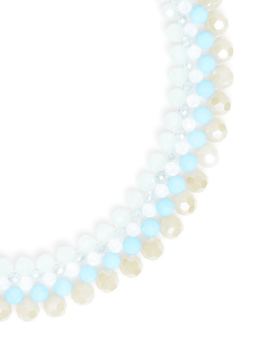Beaded Collar Necklace in Aqua - Girl Intuitive