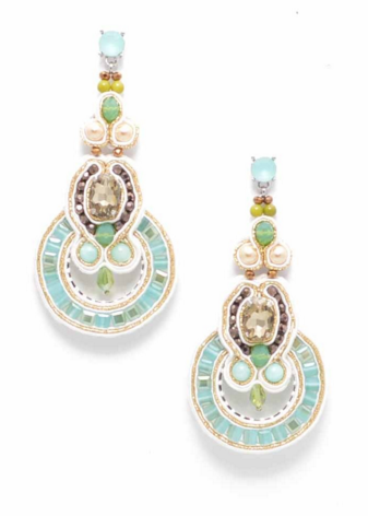 Beaded Dream Statement Earrings in Aqua - Girl Intuitive