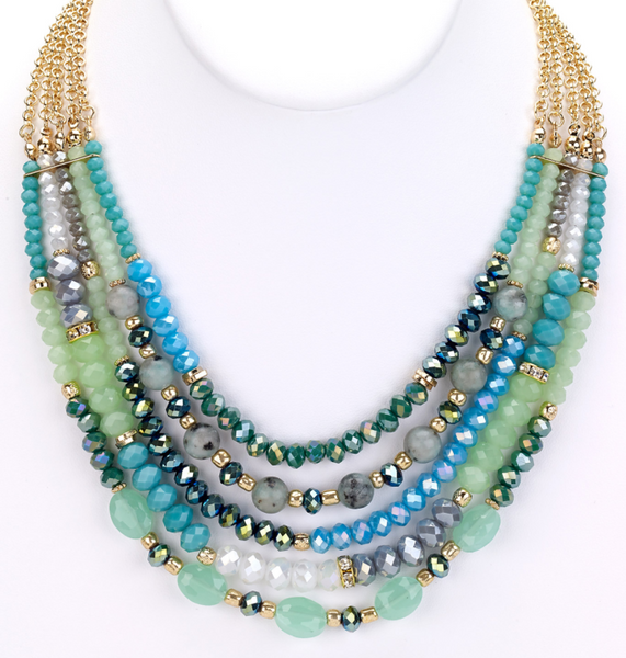 Beaded Glass Statement Necklace mint