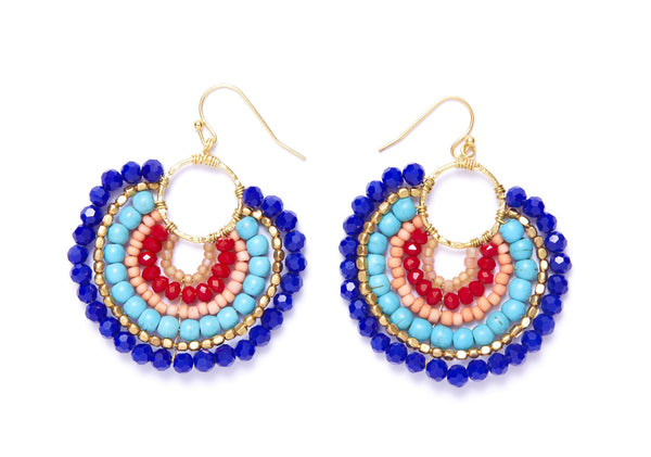 Beaded Round Earrings with Czech Crystals