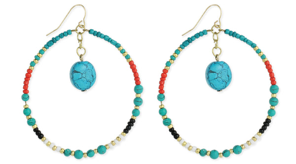 Beaded Round & Turquoise Drop Earring - Girl Intuitive