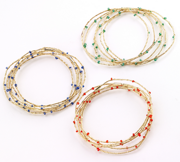 Beaded Wire Bangle Sets - Girl Intuitive