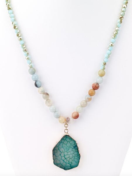 Beaded Agate Stone Pendant Long Necklace