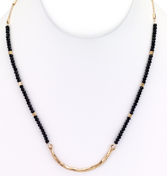 Beaded Choker Necklace with Metal Bar black