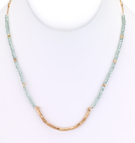 Beaded Choker Necklace with Metal Bar blue green