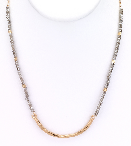 Beaded Choker Necklace with Metal Bar gold