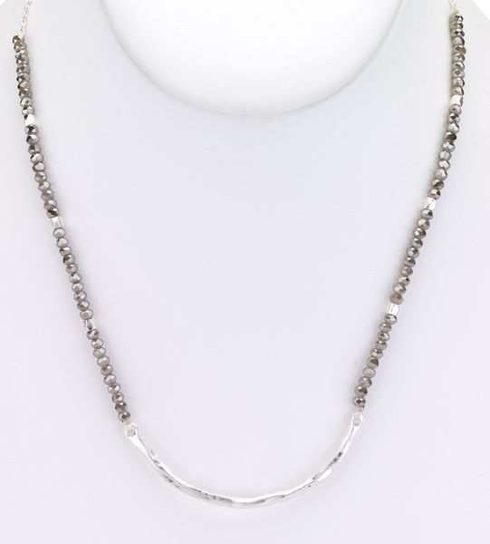 Beaded Choker Necklace with Metal Bar silver