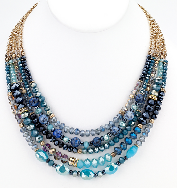 Beaded Glass Statement Necklace - Blue - Girl Intuitive