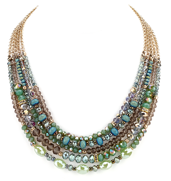 Beaded Glass Statement Necklace green