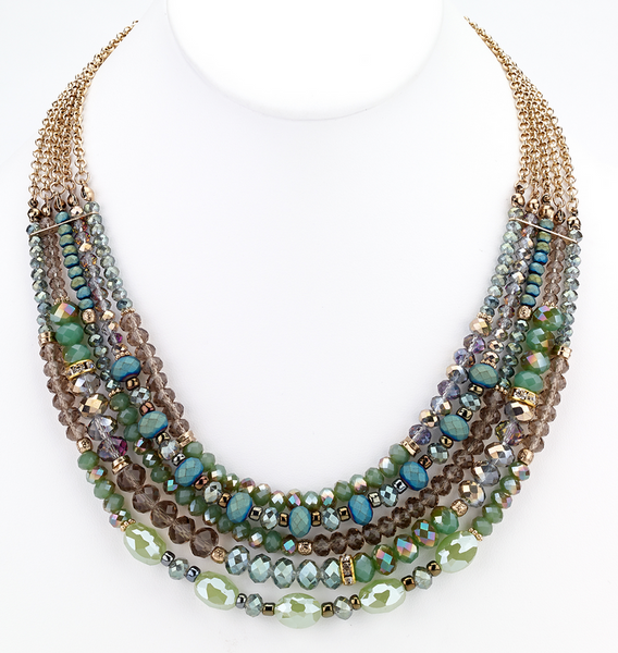 Beaded Glass Statement Necklace - Green - Girl Intuitive