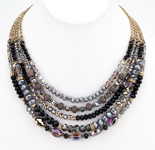Beaded Glass Statement Necklace black