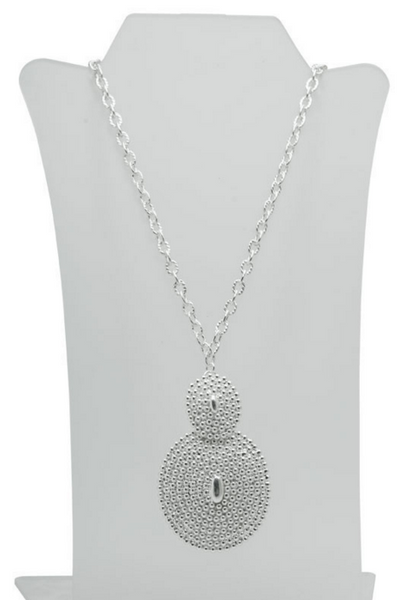 Beaded Oval Pendant Long Necklace in Silver - Girl Intuitive