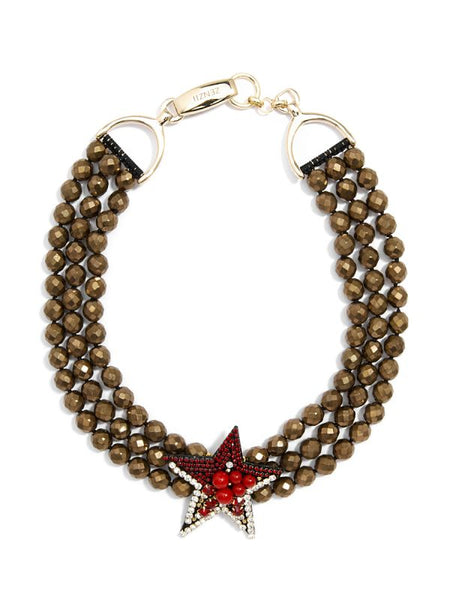 Beaded Star Collar Necklace red