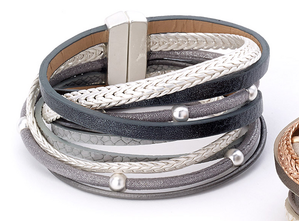 Beads and Snake Wrap Leather Bracelet gray