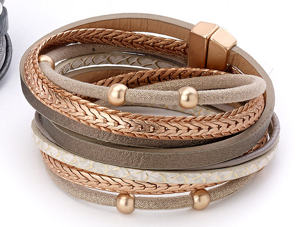 Beads and Snake Wrap Leather Bracelet taupe