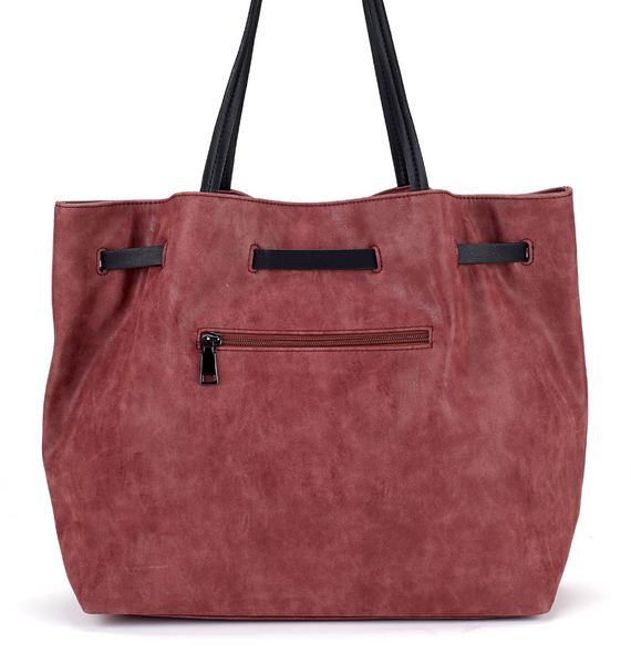 Belted Shopper Bag in Burgundy - Girl Intuitive