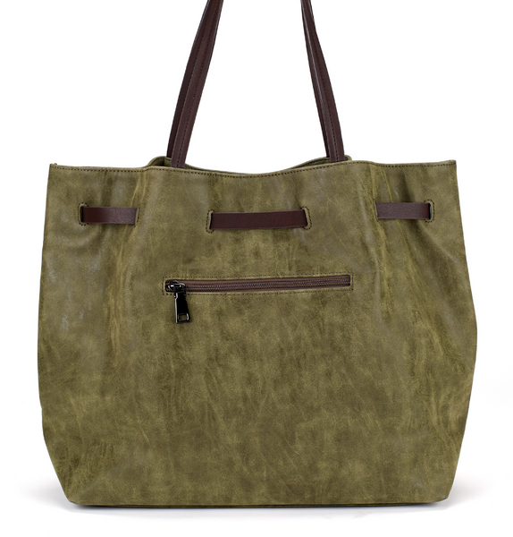 Belted Shopper Bag in Green - Girl Intuitive