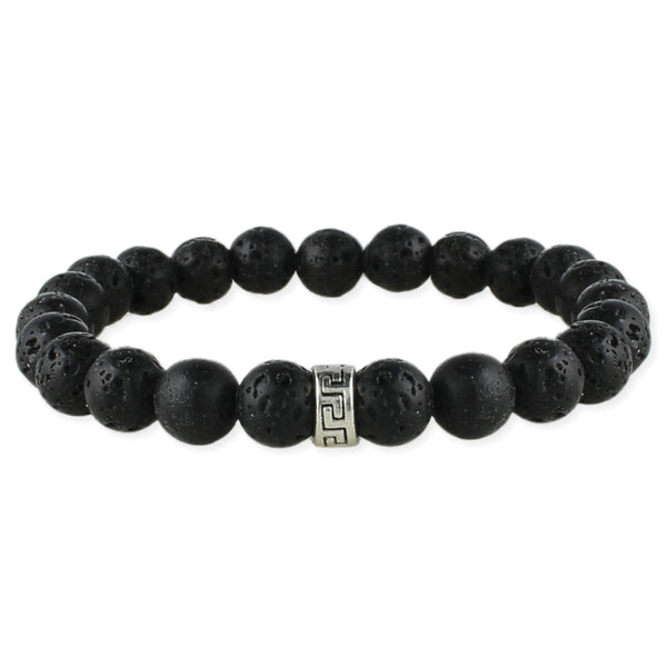Black Lava Bead Men's Stretch Bracelet