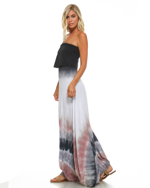 Black & White Dip Dye with Pink Maxi Dress
