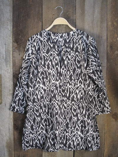 Black and White Ikat Cotton Tunic Top