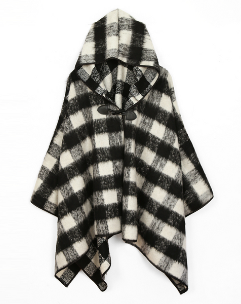 Black and White Plaid Hooded Poncho - Girl Intuitive