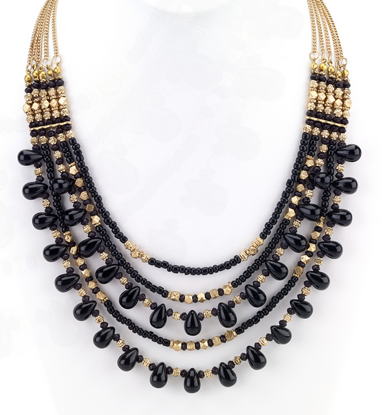 Black Beaded Necklace - Girl Intuitive