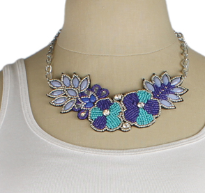 Blue Bead Flower Bib Necklace - Girl Intuitive