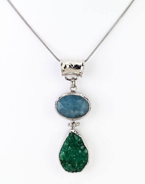 Blue Stone Druzy Pendant Necklace - Girl Intuitive