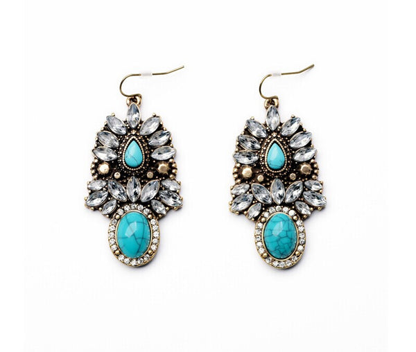 Bohemian Feather and Turquoise Drop Earrings