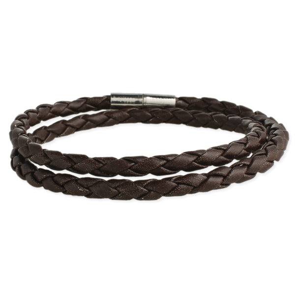Braided Brown Leather Men's Wrap Bracelet