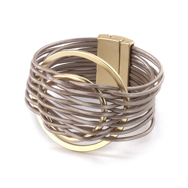 Braided Double Circle Leather Bracelet gold