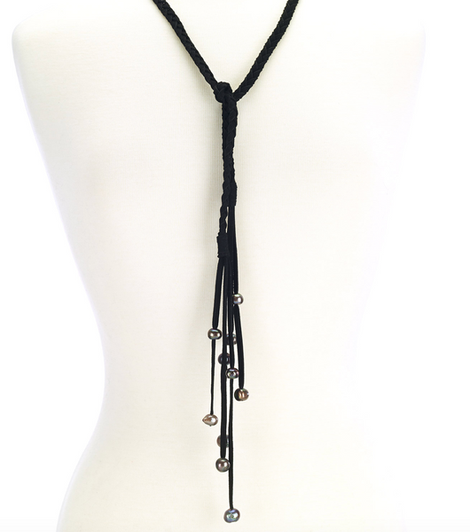 Braided Suede Leather Necklace with Pearls