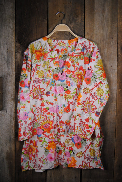 Cotton Tunic Top Bright Print