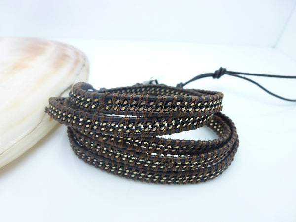 Brown on Brown Wrap Bracelet - Girl Intuitive