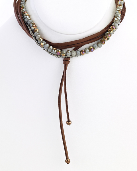 Brown Leather Choker Necklace with Olive Beads