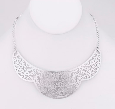 Necklace - Brushed Filigree Crown Collar - Girl Intuitive - Island Imports -