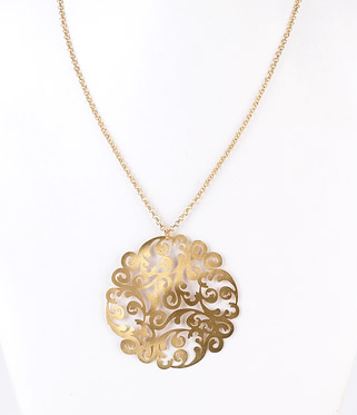 Brushed Filigree Pendant Necklace - Girl Intuitive