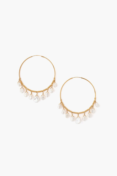 Chan Luu White Pearl Hoop Earrings