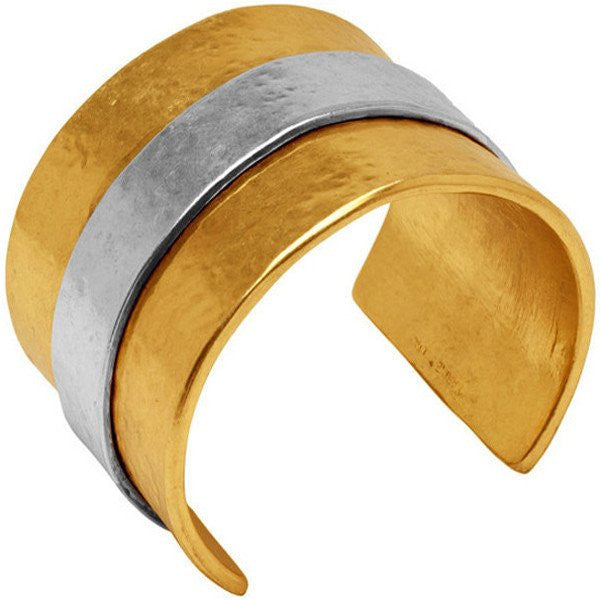 Carolina Two Tone Cuff Bracelet gold