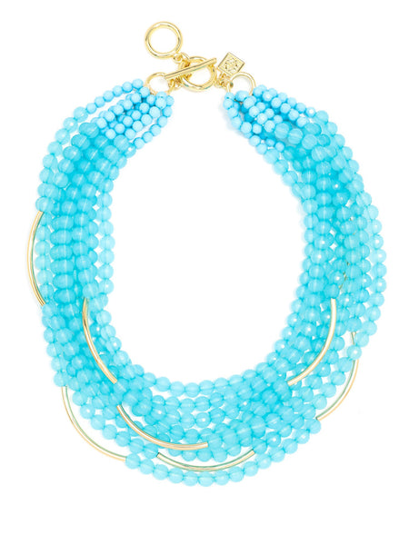 Catch the Wave Beaded Necklace beige blue